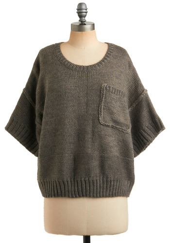Outfit Architect Sweater - Grey, Solid, Knitted, Pockets, Casual, Short Sleeves, Spring, Fall, Mid-length, 80s