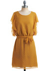 Go for the Goldenrod Dress - Yellow, Bows, Cutout, Ruffles, Casual, Vintage Inspired, A-line, Short Sleeves, Summer, Mid-length, Belted, Sheer