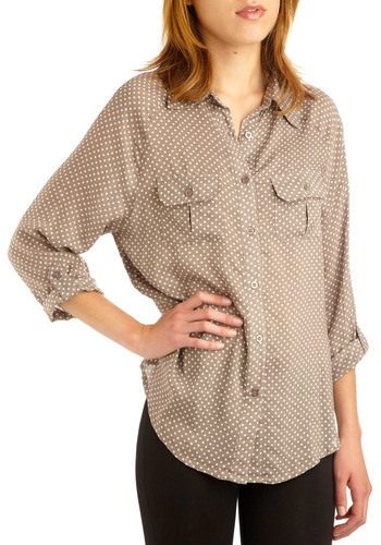 Spot of Earl Grey Top - Grey, White, Polka Dots, Buttons, Pockets, Casual, Long Sleeve, Mid-length