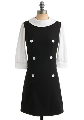 Class Precedent Dress | Mod Retro Vintage Solid Dresses | ModCloth.com :  mod crewneck tailored black and white
