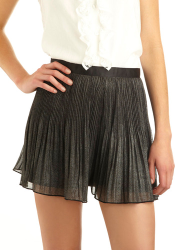 Evening Shimmer Shorts - Black, Silver, Solid, Pleats, Casual, Spring, Summer, Mid-length