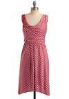 Got it Parade Dress in Red - Red, Stripes, Beads, Casual, A-line, Sleeveless, Tank top (2 thick straps), Summer, Grey, Nautical, Mid-length