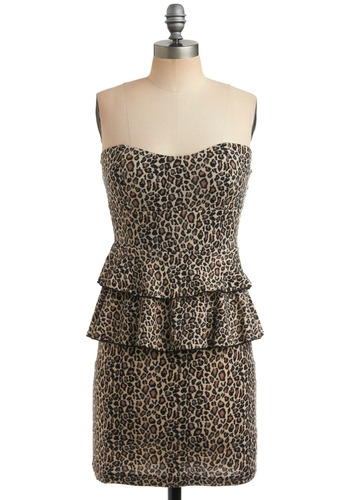 Spot the Fashionista Dress - Tan, Animal Print, Ruffles, Tiered, Trim, Party, Casual, Sheath / Shift, Strapless, Brown, Black, Short