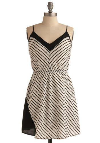 Feeling Fascination Dress - White, Stripes, Trim, Casual, A-line, Spaghetti Straps, Spring, Summer, Black, Short