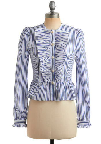 Turn of the Tide Top | Mod Retro Vintage Long Sleeve Shirts | ModCloth.com :  striped shirred gold buttons cuffed sleeves