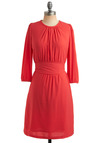 Coral Beliefs Dress - Orange, Pink, Solid, Bows, Pockets, Party, Casual, Vintage Inspired, A-line, 3/4 Sleeve, Long