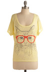 Fur Sighted Top - Yellow, Red, Print with Animals, Casual, Short Sleeves, Summer, Mid-length, Quirky, Press Placement, Scoop, Pastel, Cats, Best Seller, Yellow, Short Sleeve