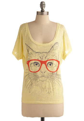 Fur Sighted Top - Yellow, Red, Print with Animals, Novelty Print, Casual, Short Sleeves, Spring, Summer, Mid-length