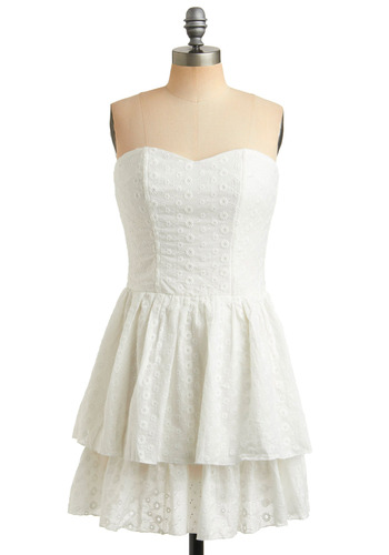 Catch Your Eyelet Dress - White, Embroidery, Eyelet, Ruffles, Tiered, Casual, A-line, Strapless, Spring, Summer, Mid-length, Graduation