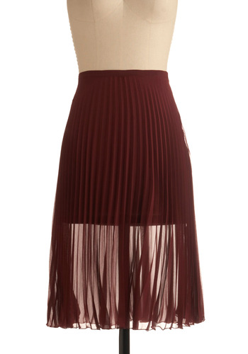 D'Accord-ion Skirt - Solid, Pleats, Casual, Vintage Inspired, A-line, Spring, Summer, Fall, Brown, Long