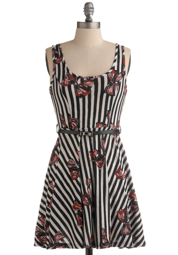 Remember Me Fondly Dress - Red, Stripes, Print, Bows, Buckles, Casual, A-line, Tank top (2 thick straps), Spring, Summer, Multi, Black, White, Short