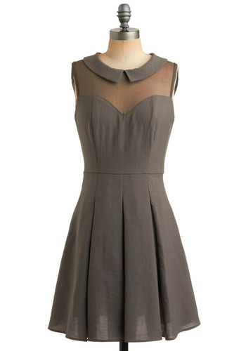 An Educated Dress - Grey, Brown, Solid, Cutout, Peter Pan Collar, Pleats, Casual, Vintage Inspired, 50s, A-line, Sleeveless, 60s, Mid-length