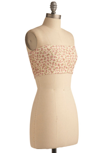 Marching Bandeau in Color Guard - Cream, Green, Pink, Floral, Lace, Casual, Strapless, Spring, Summer