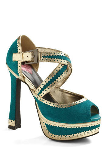 Fairy Teal Romance Heel - Green, Gold, Buckles, Cutout, Trim, Wedding, Party, Casual