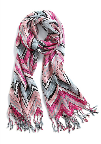 Point Person Scarf - Pink, Black, Grey, White, Stripes, Fringed, Casual, Spring, Summer, Fall