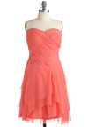 I Ingenue It! Dress - Pink, Solid, Ruffles, Tiered, Woven, Wedding, A-line, Strapless, Spring, Summer, Long