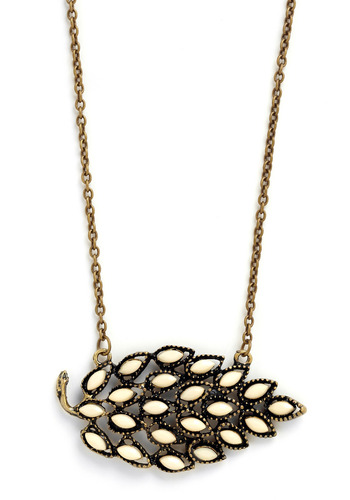 Brilliant Botany Necklace - Cream, Gold, Chain, Party, Casual