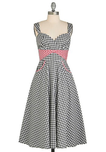 Barn House Ball Dress by Stop Staring! - Red, Checkered / Gingham, Bows, Pockets, Party, Casual, Vintage Inspired, 50s, A-line, Tank top (2 thick straps), Spring, Summer, Empire, Long, Black, White, Rockabilly
