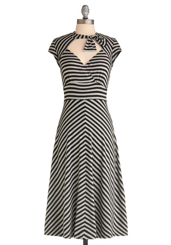 Sweet on Stripes Dress by Stop Staring! - Stripes, Backless, Bows, Cutout, Party, Casual, Vintage Inspired, 50s, A-line, Cap Sleeves, Empire, Long, Black, Grey, Rockabilly, Pinup, Tis the Season Sale