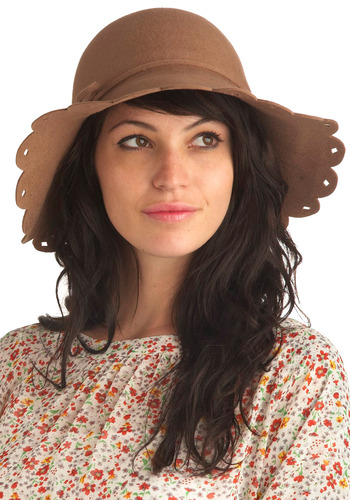See You Next Hat-urday - Brown, Solid, Bows, Eyelet, Scallops, Casual, Vintage Inspired, Spring, Summer, Fall