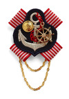 Anchors Always Pin - Red, Blue, White, Gold, Solid, Stripes, Novelty Print, Beads, Chain, Embroidery, Party, Casual, Nautical, Statement