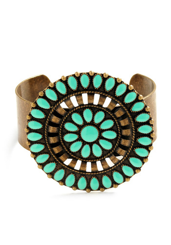 Quite Chuffed Cuff - Bronze, Green, Cutout, Casual, Boho, Vintage Inspired, 70s