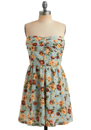 Whispering Willow Dress | Mod Retro Vintage Printed Dresses | ModCloth.com :  light blue yellow decorative buttons breezy