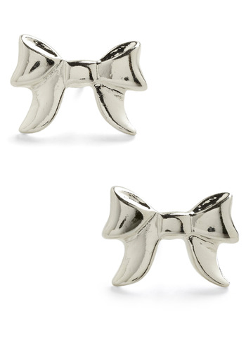 To You I Bestow Earrings - Silver, Bows, Party, Work, Casual