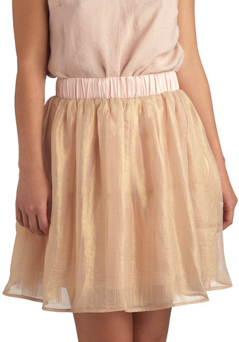 Dusted with Gold Skirt - Gold, Pink, Solid, Special Occasion, Wedding, Party, Luxe, A-line, Ballerina / Tutu, Mid-length