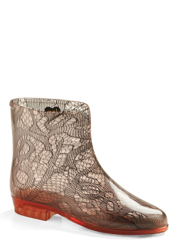 Keep Up the Lace Rain Boot by Mel Shoes - Red, Floral, Lace, Casual, Spring, Fall, Winter, Grey