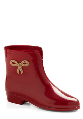 Smiling and Splashing Rain Boot by Mel Shoes - Red, Solid, Bows, Braided, Casual, Spring, Fall, Winter