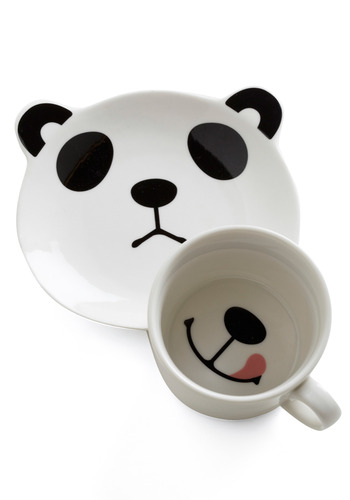 Panda Smile on Your Face Mug Set - White, Pink, Black, Print with Animals, Casual