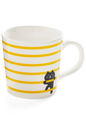 Play It on the Line Mug in Purr - White, Yellow, Black, Stripes, Print with Animals, Novelty Print, Work, Casual