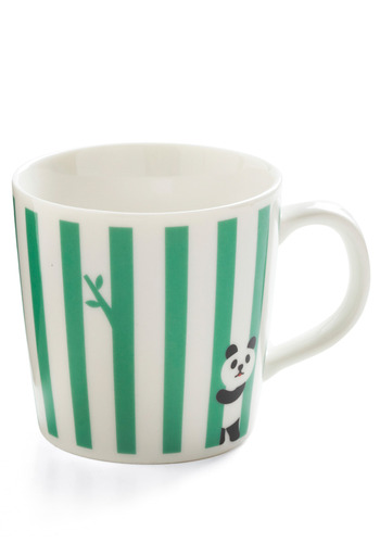 Play It on the Line Mug in Panda by Japanese Gift Market - Green, White, Black, Stripes, Print with Animals, Novelty Print