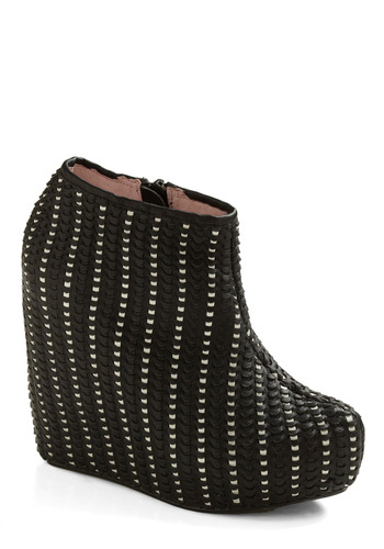 Let's Motor Wedge - Black, White, Woven, Casual, Wedge