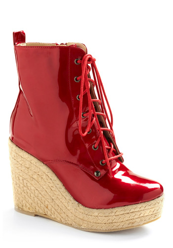 Cherry Bombshell Bootie - Red, Tan / Cream, Solid, Bows, Casual