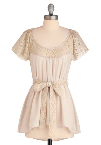 Back in a Sash Top - Cream, Solid, Bows, Lace, Casual, Short Sleeves, Spring, Summer, Long