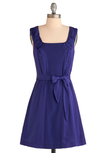 Violet Us Be Lovers Dress - Purple, Solid, Bows, Wedding, Party, Casual, A-line, Sleeveless, Tank top (2 thick straps), Spring, Summer, Mid-length