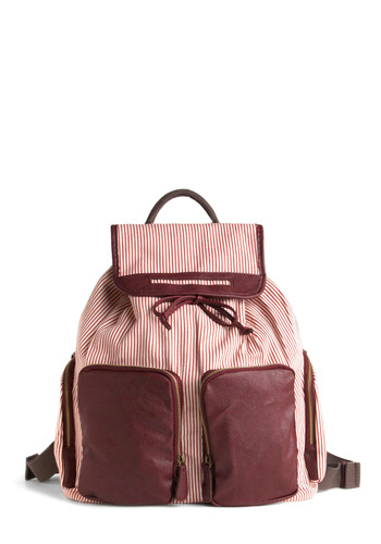 Peppermint to Be Backpack - Red, White, Solid, Stripes, Bows, Pockets, Casual, Spring, Summer, Fall