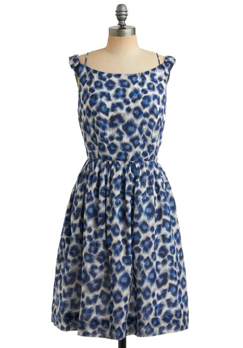 Dinner Belle Dress in Wild by Emily and Fin - Blue, Animal Print, Pockets, Party, Casual, A-line, Spaghetti Straps, Tank top (2 thick straps), Grey, Long, International Designer