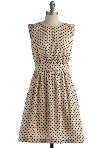Too Much Fun Dress in Sand by Emily and Fin - Cream, Black, Polka Dots, Pockets, Casual, Vintage Inspired, A-line, Sleeveless, Mid-length, Cotton, Fit & Flare, International Designer, Basic, Top Rated