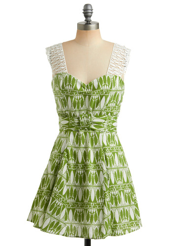 Prime Viridian Dress - Green, White, Print, Bows, Lace, Casual, A-line, Sleeveless, Tank top (2 thick straps), Spring, Summer, Short