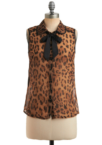 Leopard-on Me Top - Brown, Black, Animal Print, Bows, Buttons, Trim, Party, Casual, Sleeveless, Spring, Summer, Mid-length