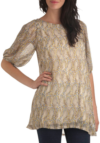Different Feather Tunic - Cream, Multi, Yellow, Blue, Brown, Animal Print, Cutout, Casual, Short Sleeves, Spring, Summer, Fall, Long
