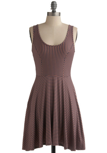 Season Cycle Dress in Summer Sunset - Stripes, Casual, A-line, Tank top (2 thick straps), Spring, Summer, Orange, Pink, Grey, Mid-length, Scoop