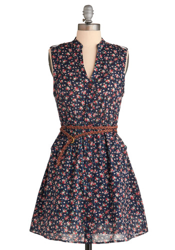 What You Waited Floral Dress - Blue, Multi, Red, Green, White, Floral, Braided, Buttons, Pockets, Casual, A-line, Sleeveless, Spring, Summer, Short