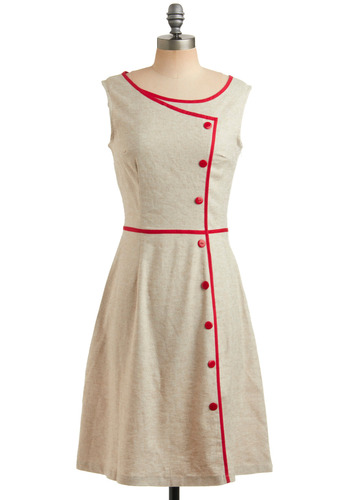 Today's the Day Dress - Tan, Red, Solid, Buttons, Trim, Party, Casual, Vintage Inspired, 50s, 60s, A-line, Sleeveless, Spring, Summer, Show On Featured Sale, Long