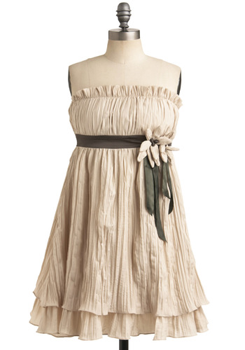 Summer Wheat Dress by Ryu - Cream, Green, Brown, Flower, Ruffles, Casual, Empire, Strapless, Spring, Summer, Mid-length
