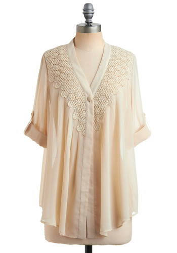 Sheer Your Story Top - Cream, Solid, Lace, Casual, Long Sleeve, 3/4 Sleeve, Spring, Summer, Mid-length