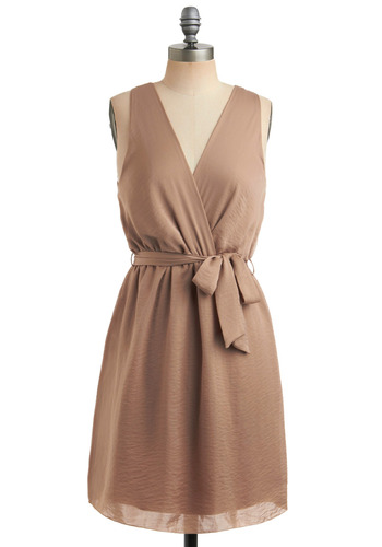 Neutral Shift Dress - Tan, Solid, Bows, Party, Casual, A-line, Wrap, Sleeveless, Tank top (2 thick straps), Mid-length